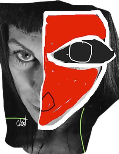 CBost - Photo dessin - Autoportrait - Rouge Facebook