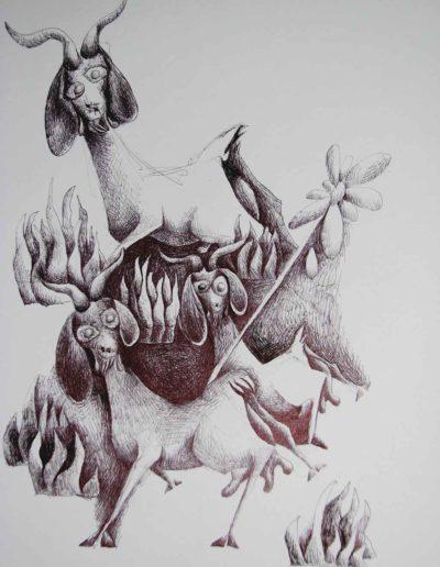 CBost- Dessin encre de Chine sur Canson - Chèvres
