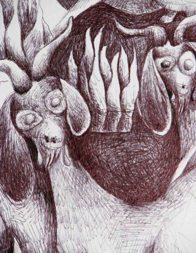 CBost- Dessin encre de Chine sur Canson - Chèvres détail 03